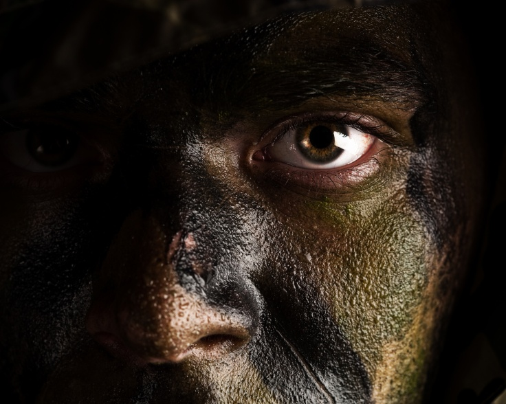 camouflage painted face